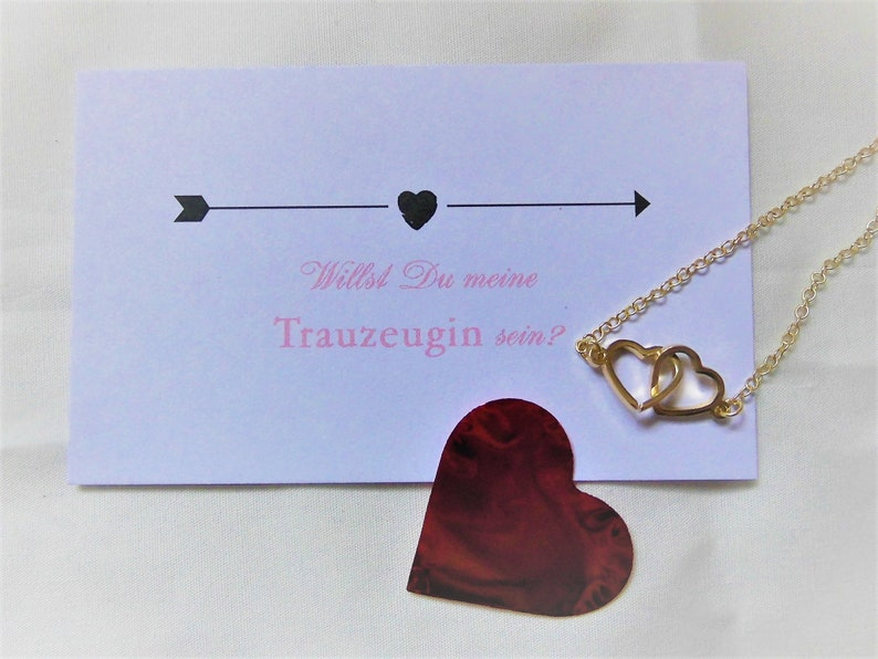 Groomswoman Gift  Card  Bracelet with Connected Hearts  in Gold