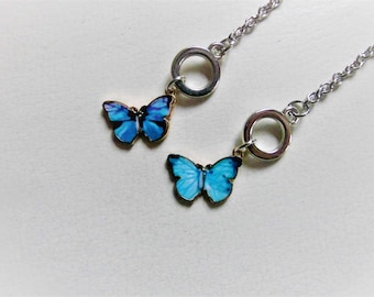 Bracelet with butterfly pendant in silver - gift card for mom girlfriend sister - plus gift wrapping and thank you stickers