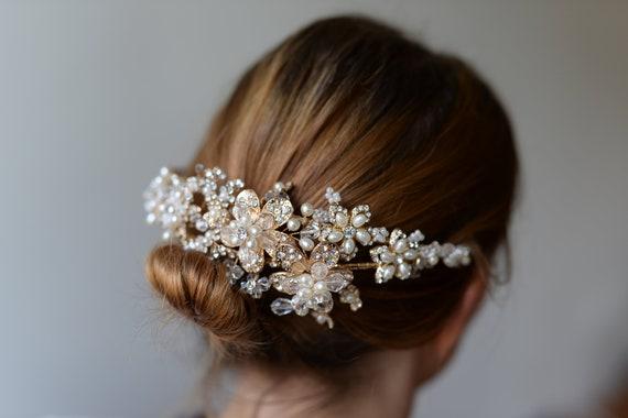 Braut Haarschmuck Goldener Haarreif Aus Zierperlenblüten Mit Strass Steinen Vintage Stil