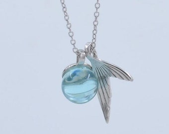 Necklace in silver with pendant - blue crystal ball and mermaid's tail