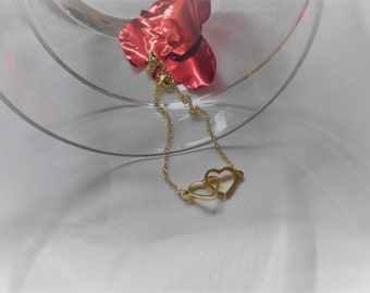 Valentine's Day - Gift - Bracelet Bracelet with 2 Entwined Hearts in Gold or Silver