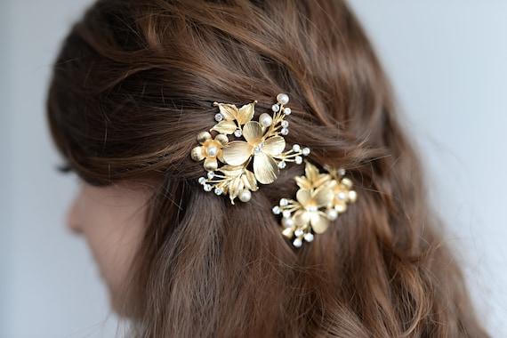 Haarschmuck Schmetterling Und Blätter 2x Goldene Haarclips Mit Schmetterling Blätter Kleinen Zierperlen Und Strass Steinen
