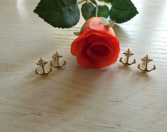 2x Groomswoman - Bridesmaid Gift: Anchor Studs in Gold or Silver Maritime Earrings plus Gift Wrapping with Thank You Stickers