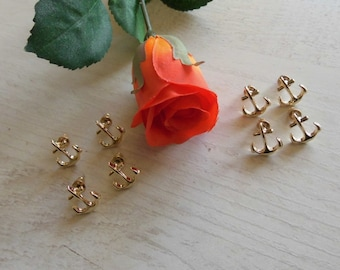 4x Groomswoman - Bridesmaid Gift: Anchor Studs in Gold or Silver Maritime Earrings plus Gift Wrapping with Thank You Stickers