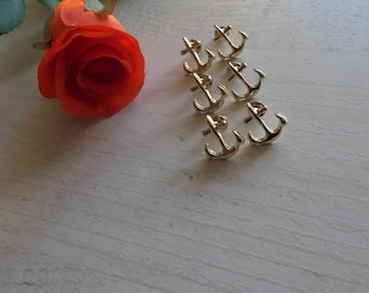 3x Groomswoman - Bridesmaid Gift: Anchor Studs in Gold or Silver Maritime Earrings plus Gift Wrapping with Thank You Stickers