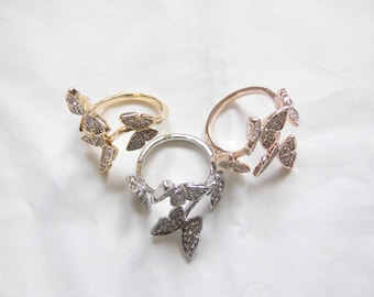 Ring - butterflies ring - animal ring in silver, gold and rose gold - adjustable