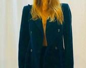Valentino Vintage Dark Blue Velvet Double Breast Blazer Pants set hourglass chic S