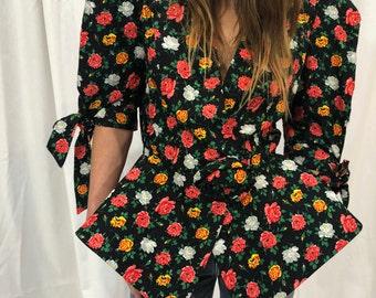 89bebd86792f7 Vintage Raul Blanco Silk Jacket Floral Top Rose Black Puff Sleeve S M
