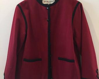 0d1027d9a11 Original Vintage Yves Saint Laurent Rive Gauche Red Bordeaux Russian Wool  Jacket 40 L