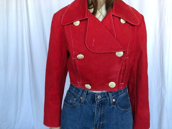 Bergdorf Goodman Vintage Red Cotton Motorcycle Short Jacket 6 S