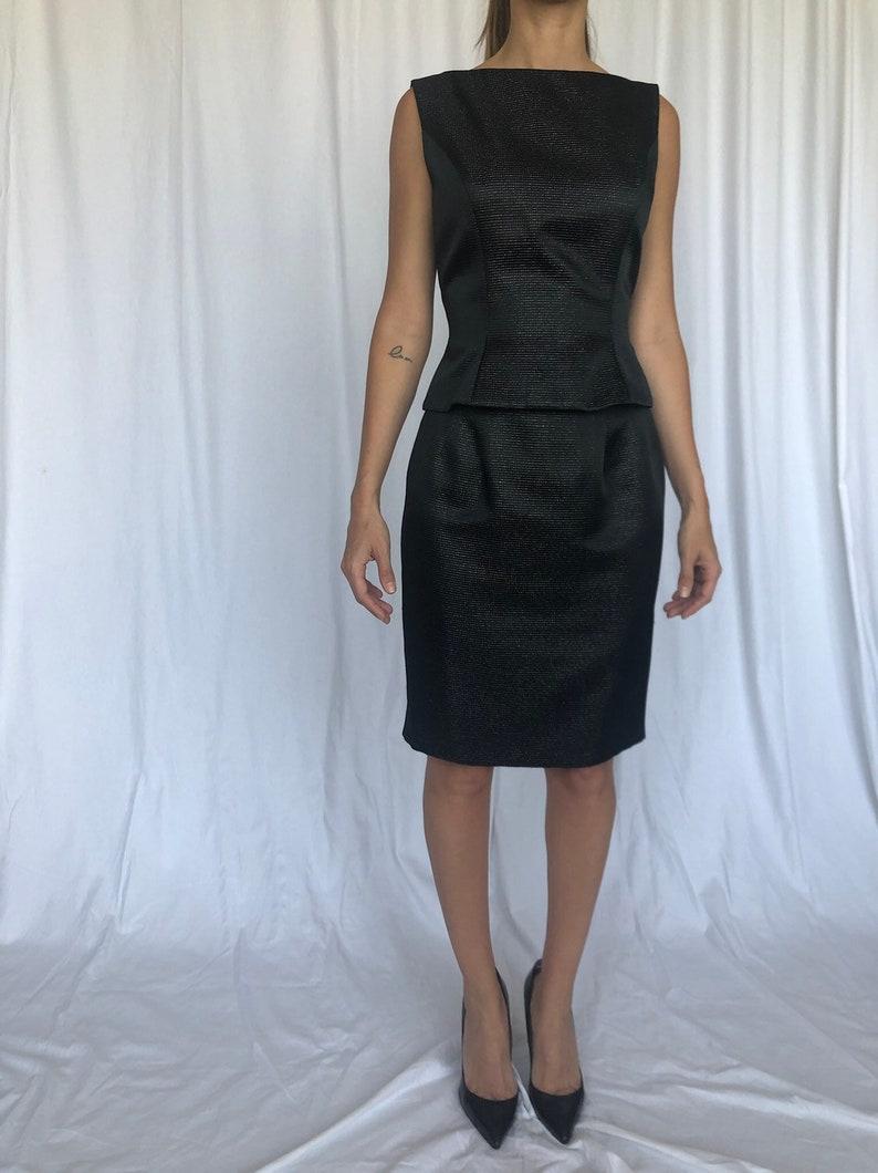 Carmen Marc Valvo Top Skirt Set Metallic LBD Holiday S 4