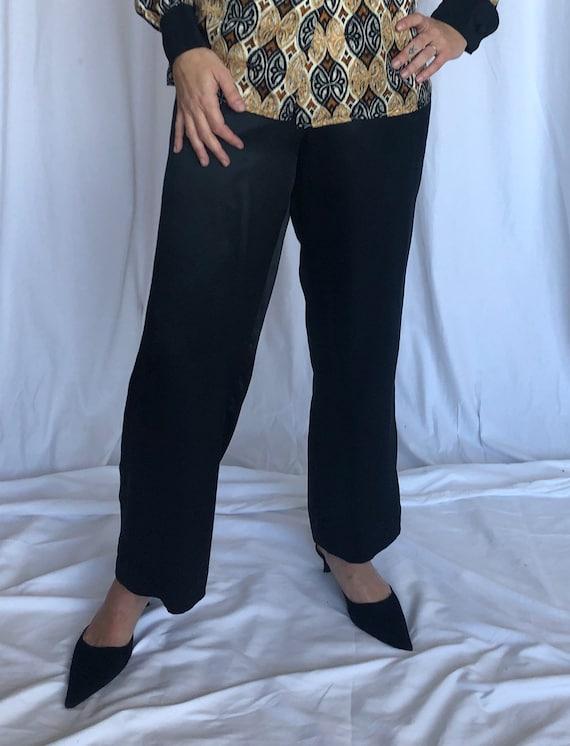 Silk Vintage Lounge Loose Vintage Black Pants 4 S