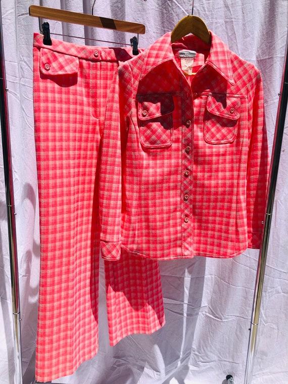 Alex Colman 70s Bright Neon Pink Check Gingham Su… - image 5