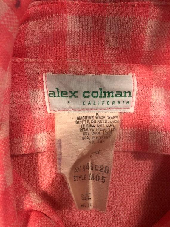 Alex Colman 70s Bright Neon Pink Check Gingham Su… - image 6