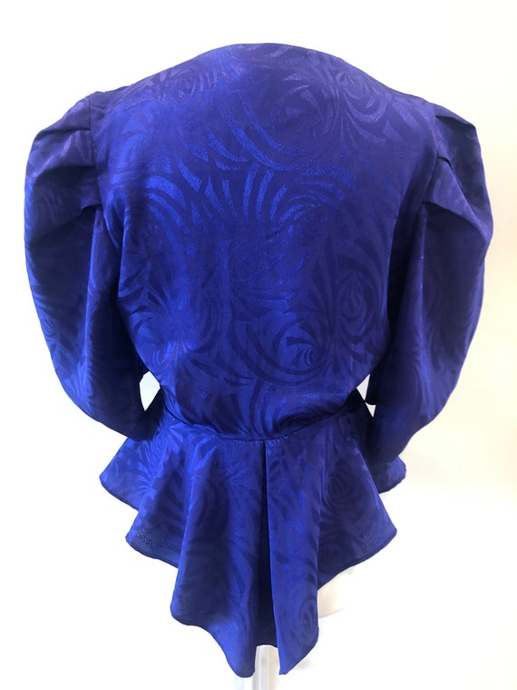 Vintage 80s Purple Wrap Top Puff Sleeves Peplum Br