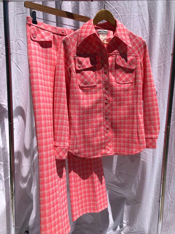 Alex Colman 70s Bright Neon Pink Check Gingham Su… - image 1