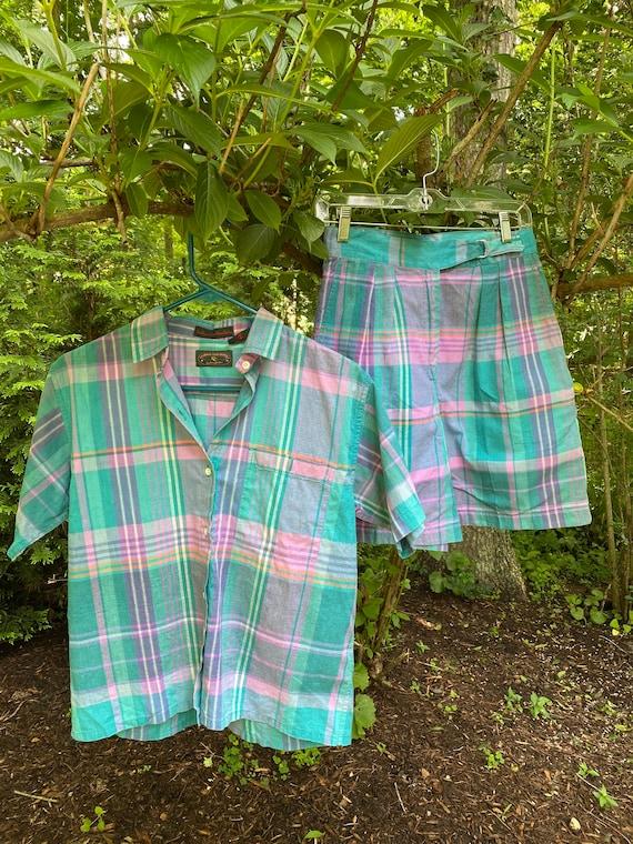 Vintage Indian Madras Plaid Cotton Set Shorts Shir