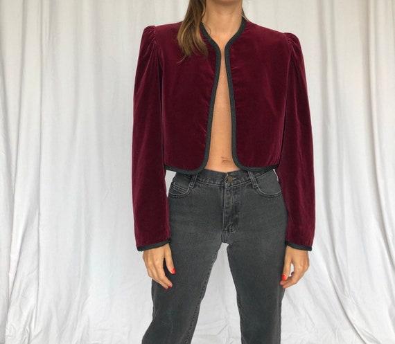 YSL 70s Vintage Burgundy Velvet Bolero Jacket S M