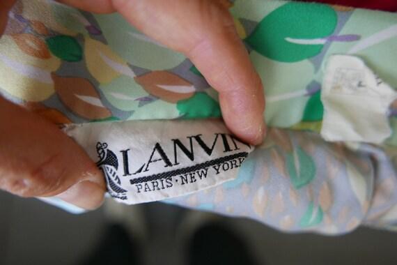 Lanvin 70s Classic Watercolor Pastel Poly Blouse M - image 9