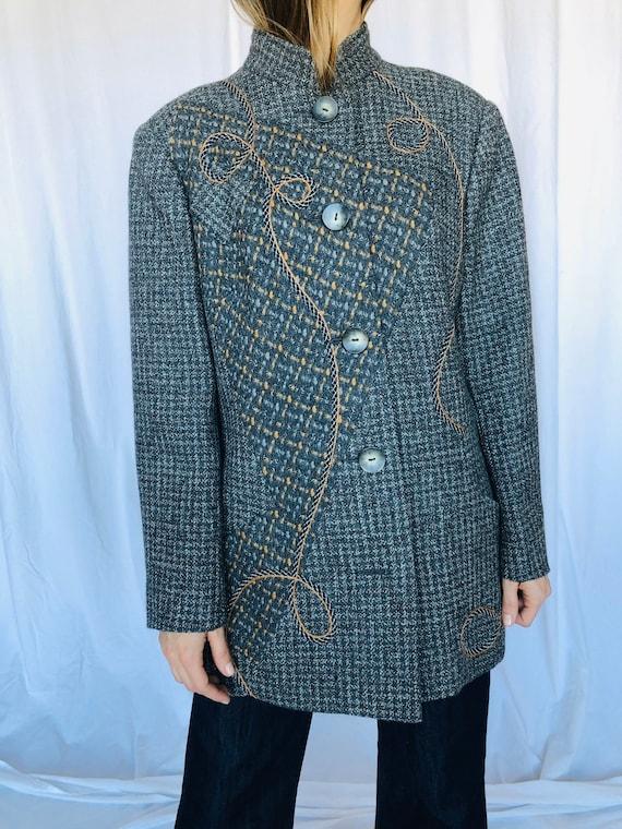 Koos van den Akker Grey Wool Patchwork Coat M