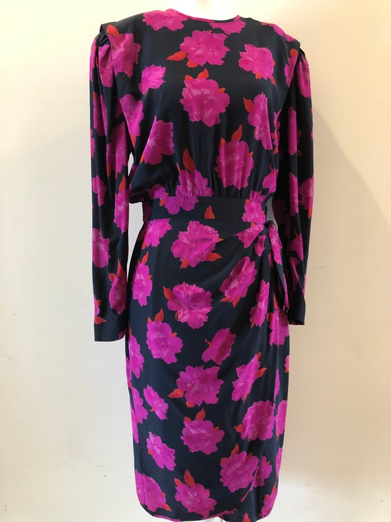 Escada 80s Vintage Floral Wrap Dress S M