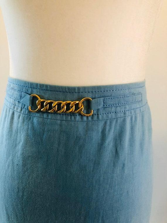 Original Vintage Celine Blue Linen Monogram Chain