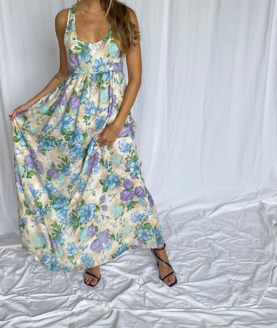 Young Innocent 70s Vintage Empire Floral Maxi S