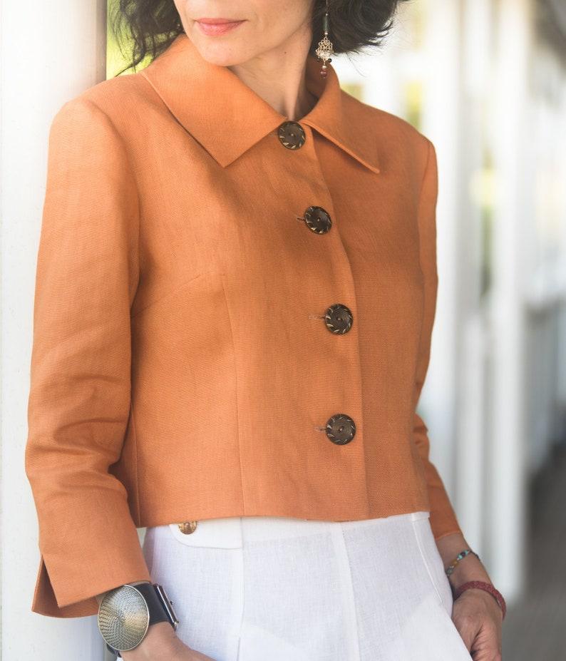 Audrey short linen jacket with 3/4 sleeves Short jacket  image 0