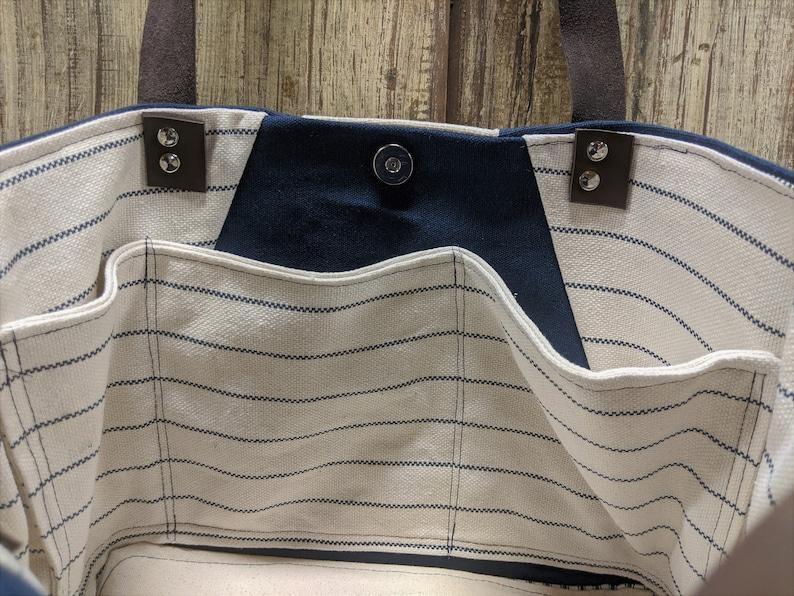 Leather Handled ShoulderTote Bag Natural w Tiny Navy Stripe