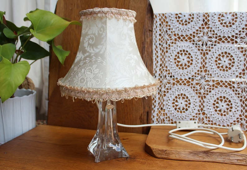 bedside lamp Table lamp with crystal glass base vintage table lamp with umbrella fabric shade bedroom lamp floor lamp