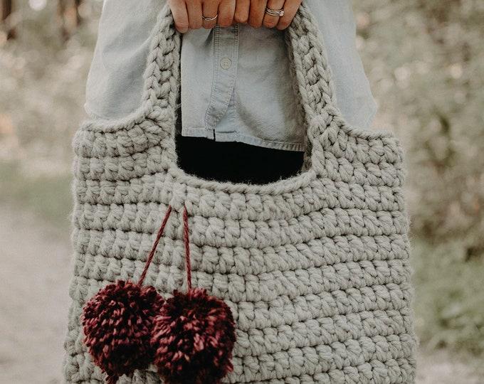 Large Crochet Tote Bag - Light Grey - Women's Bags