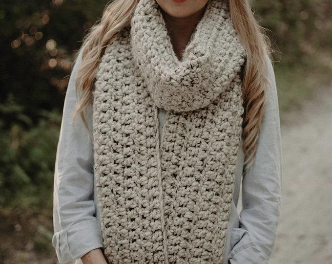 Chunky Crochet Long Scarf - Oatmeal - Women's Scarf