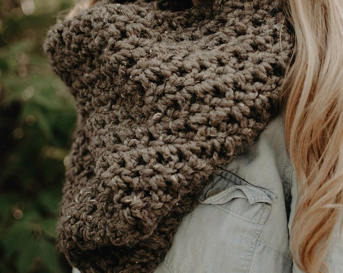 Large Chunky Crochet Cowl - Barley - Women's Scarf