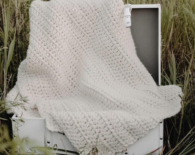 Large Chunky Crochet Blanket - White - Chunky Blanket