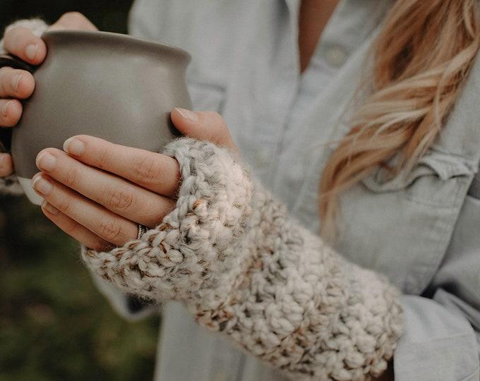 Chunky Crochet Fingerless Gloves - Sand - Women's Accessories