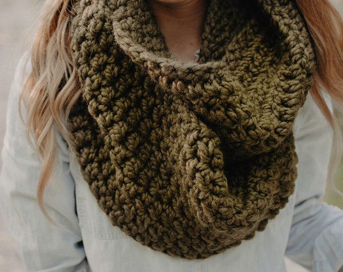 Chunky Crochet Infinity Scarf - Olive - Women's Scarf