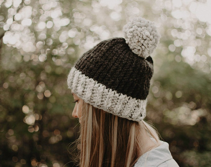 Chunky Knit Two Toned Hat - Charcoal and Grey - Women's Hat