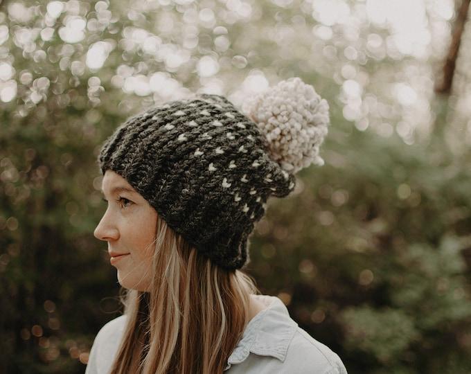 Chunky Knit Polka Dot Hat with Pom Pom - Charcoal - Women's Hat
