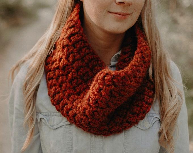 Chunky Crochet Cowl - Burnt Orange - Women's Scarf