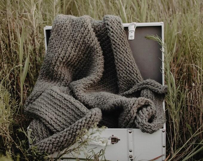 Chunky Knit Blanket - Dark Grey - Chunky Throw