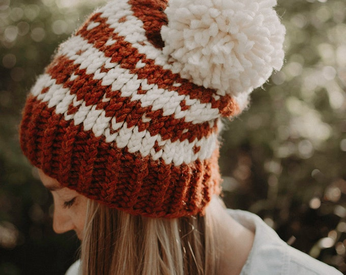 Chunky Knit Striped Polka Dot Hat - Burnt Orange and White - Women's Hat