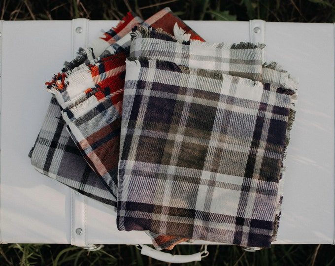 Large Plaid Flannel Blanket Scarf - Women's Scarf (More colors to come!)