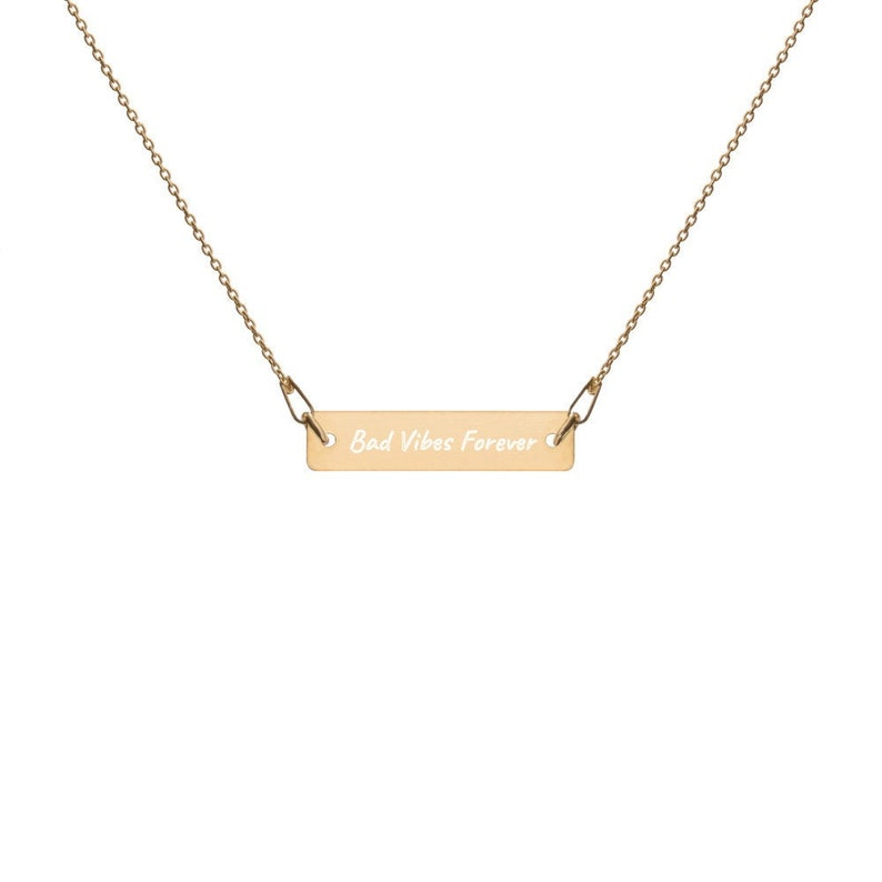 Bad Vibes Forever XXXtentacion Engraved Bar Chain Necklace 4 24K Gold coating