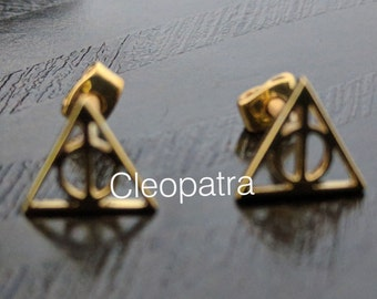 7a67b4317 Harry Potter Symbol Gold Plated Triangle Deathly Hallow 925 Sterling Silver  Stud Earrings