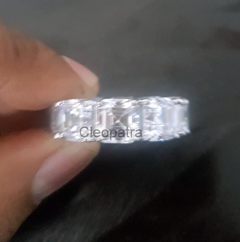 7.44CT Asscher CZ 925 Sterling Silver Eternity Wedding Band