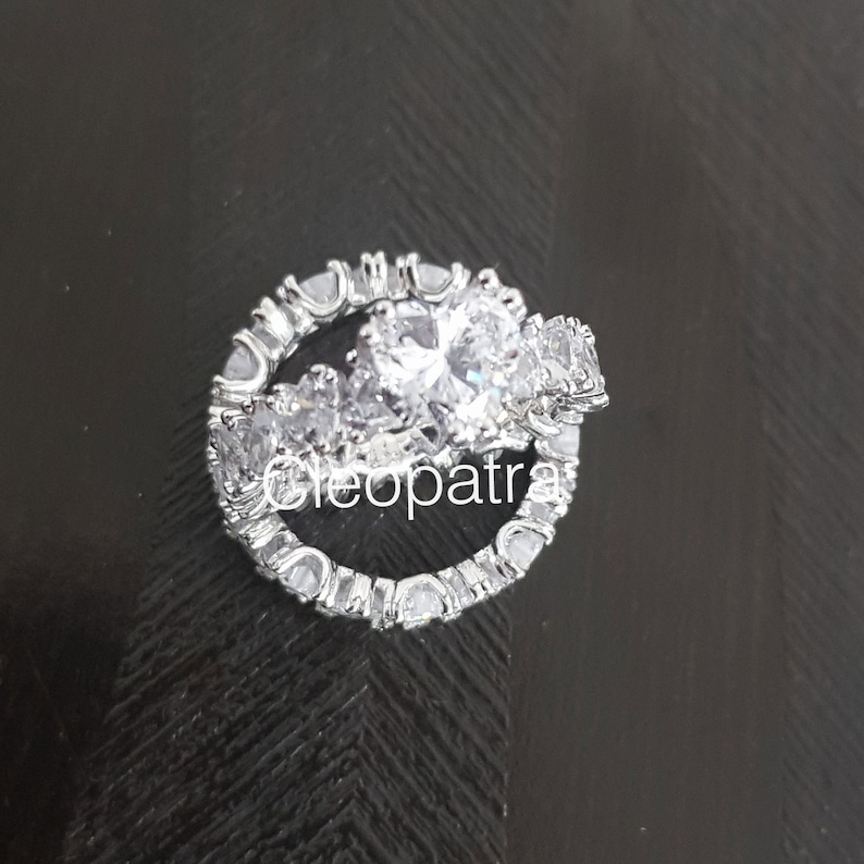 3.50CT Heart Shape CZ Solitaire Accented 2CT Heart Cubic Zirconia 925 Sterling Silver Eternity Band Wedding Ring Set