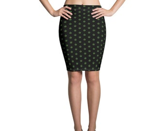 Rolling Stoned Women/'s Cannabis Pencil Skirt One Size