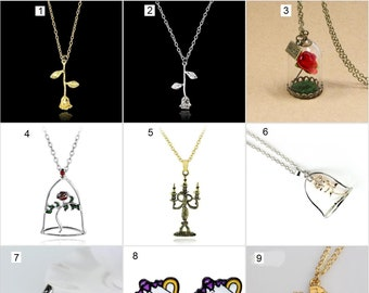 cb7568f884 Beauty and the Beast Jewellery Single Rose Beauty & the Beast Pendant  Necklace Earrings Studs Chip Mrs Potts Disney Rose In Dome Lumiere