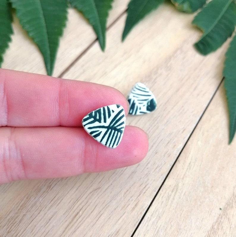 Small plant earrings Triangle stud earrings Modern earrings Fern earrings White green jewelry for women Cute trendy earrings for girl