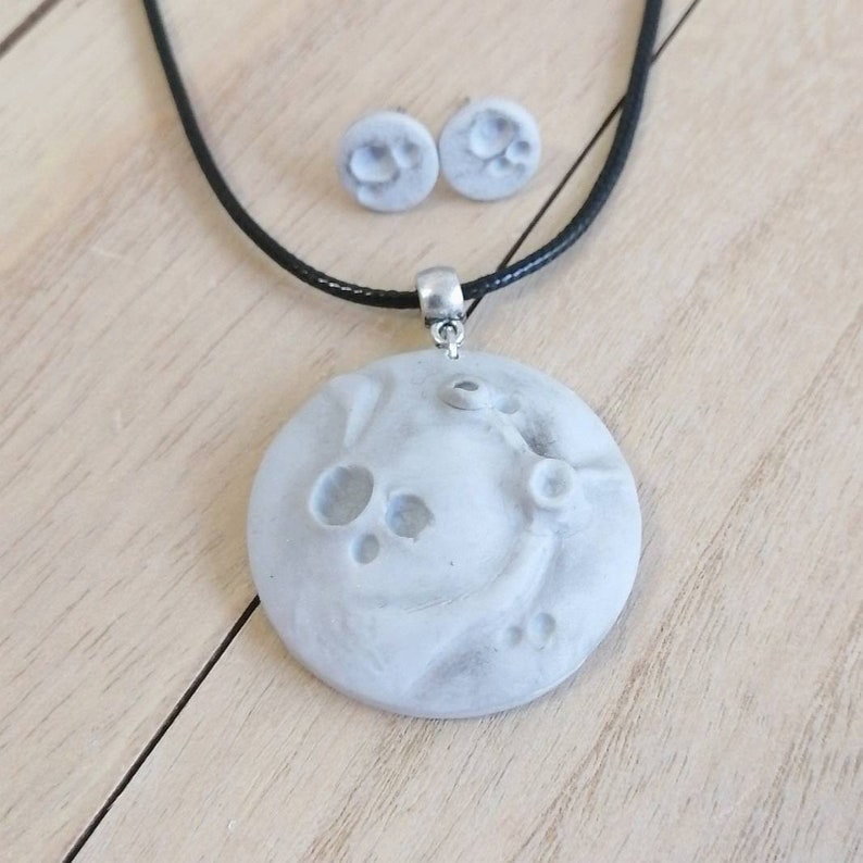 Realistic moon jewelry Moon pendant necklace and tiny stud earrings